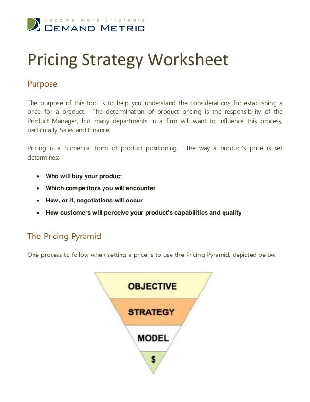 Pricing Strategy Template - Strategy template