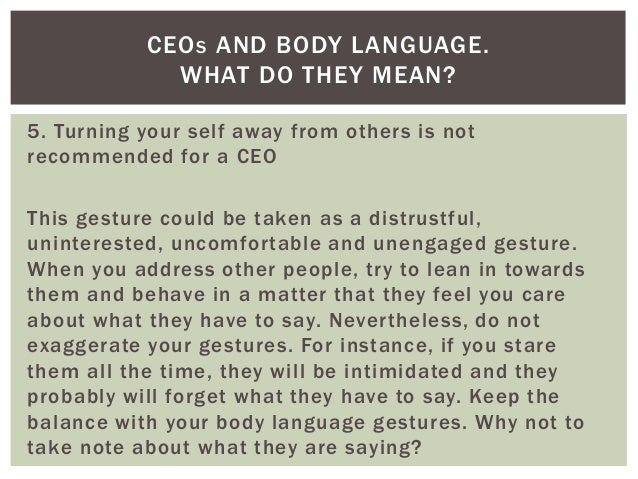 Ceos and body language what do they mean for What does diction mean