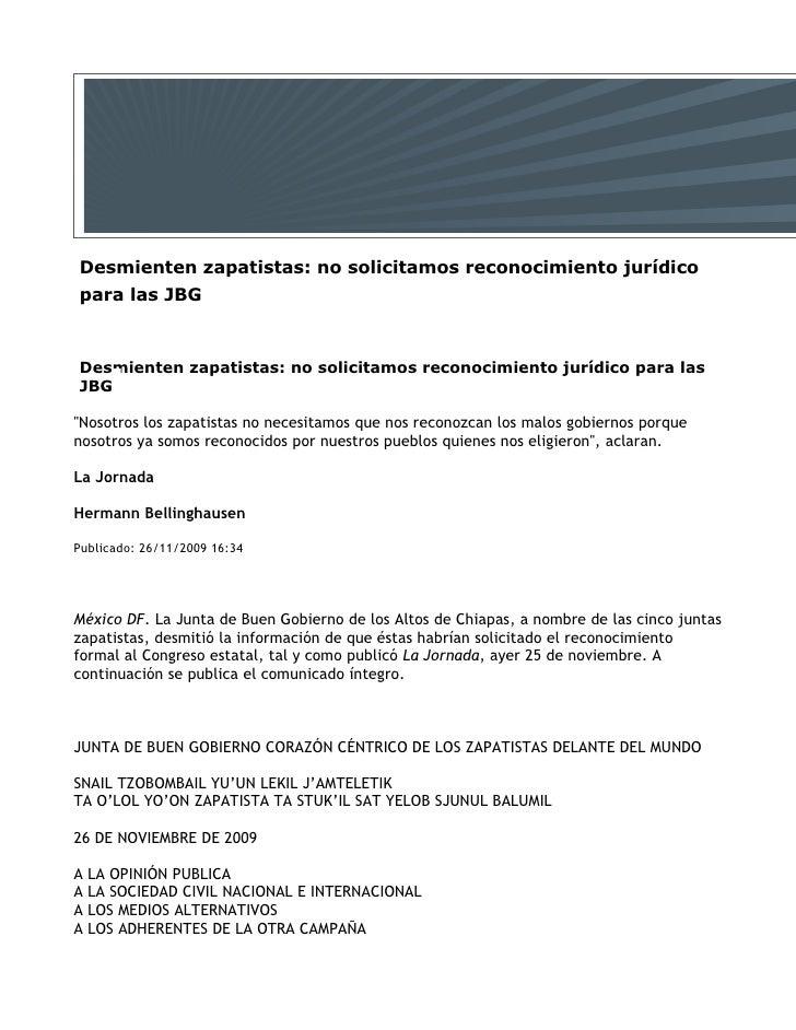 Desmienten zapatistas: no solicitamos reconocimiento jurídico para las JBG    Desmienten zapatistas: no solicitamos recono...