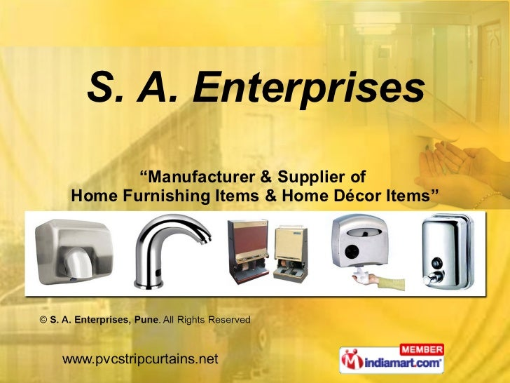 """"""" Manufacturer & Supplier of  Home Furnishing Items & Home Décor Items"""" S. A. Enterprises"""