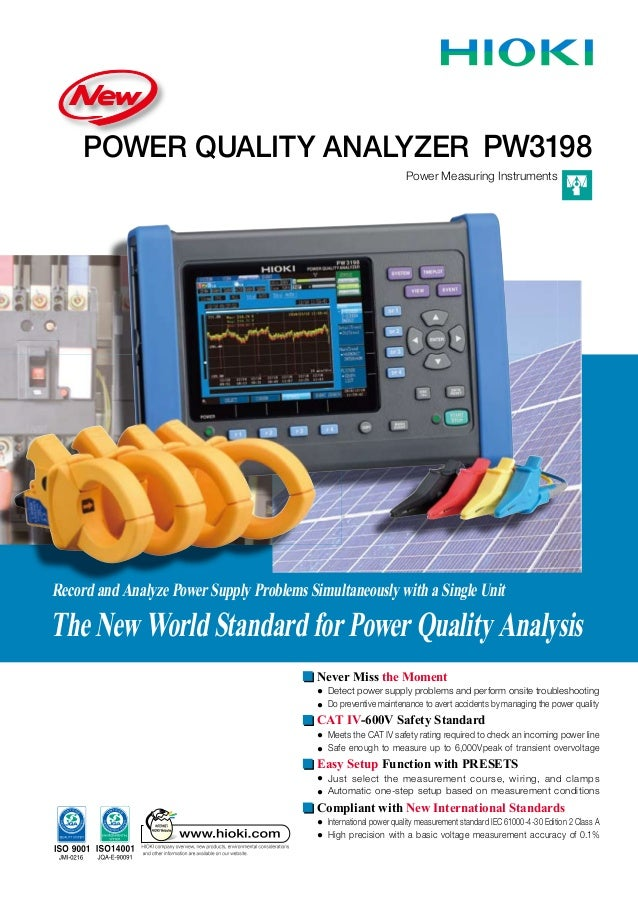 POWER QUALITY ANALYZER Power Measuring Instruments PW3198 Record and Analyze Power Supply Problems Simultaneously with a S...