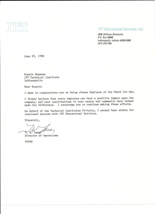1986 Corp Letter Employee of Month