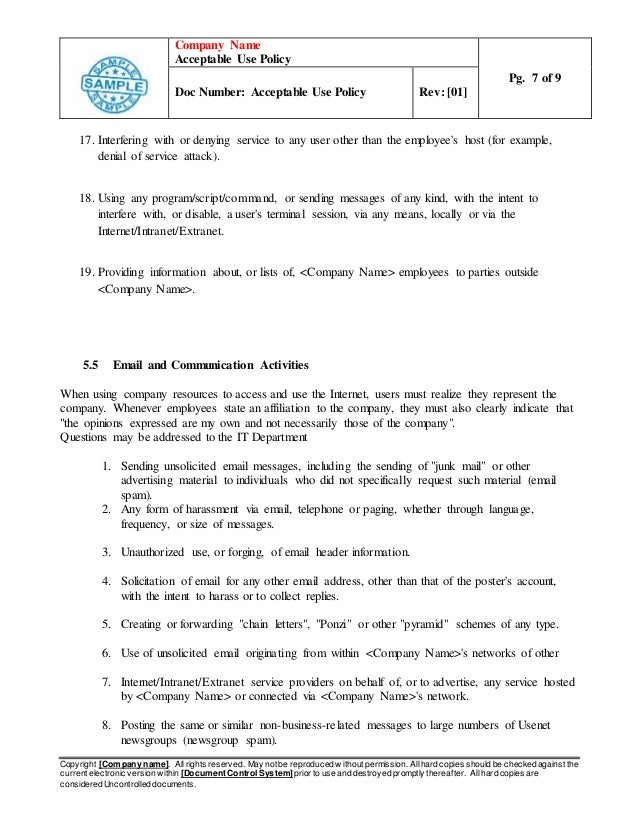 acceptable use policy examples for business