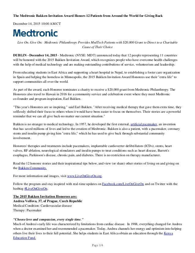 Medtronic Press Release - Bakken - December 14, 2015