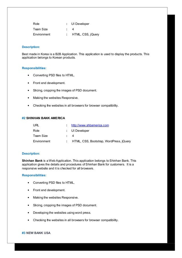 2 role ui developer - Ui Developer Resume