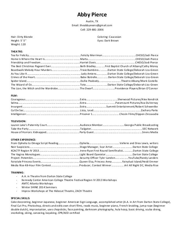 current acting resume abby pierce austin tx email theabbyevansgmailcom cell 229. Resume Example. Resume CV Cover Letter