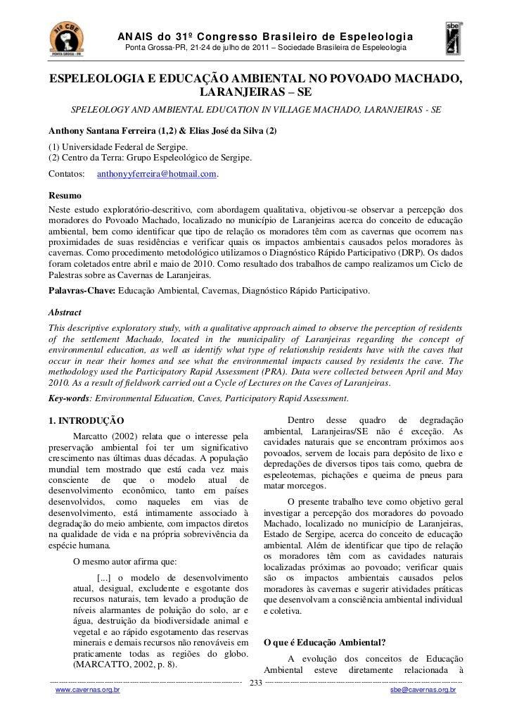 AN AIS do 31º Congresso Brasi leiro de Espeleologia                                Ponta Grossa-PR, 21-24 de julho de 2011...