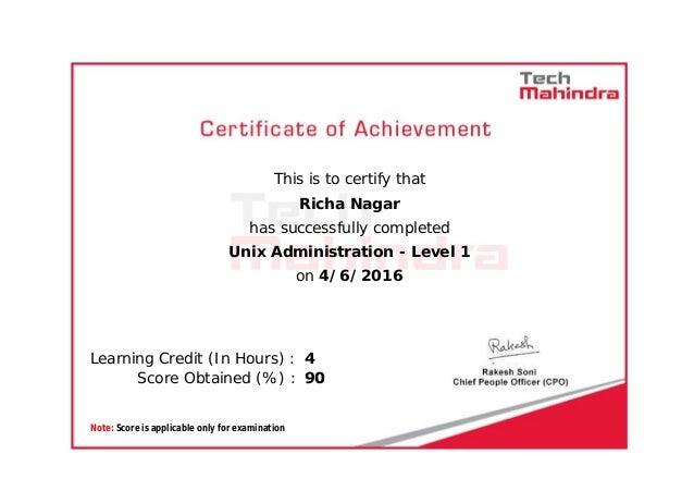 Unix level 1 certification