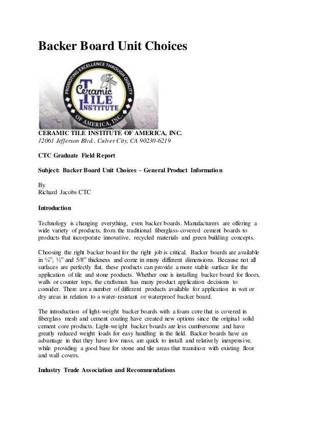 Ctioa publication backer board unit choices ceramic tile institute of america inc ppazfo