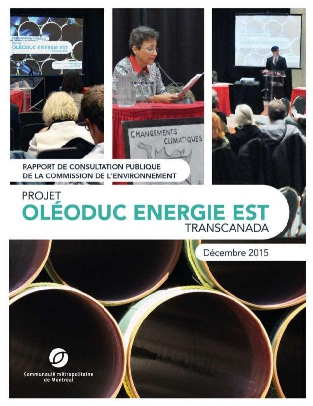 0 DÉCEMBRE 2015 RAPPORT DE CONSULTATION PUBLIQUE DE LA