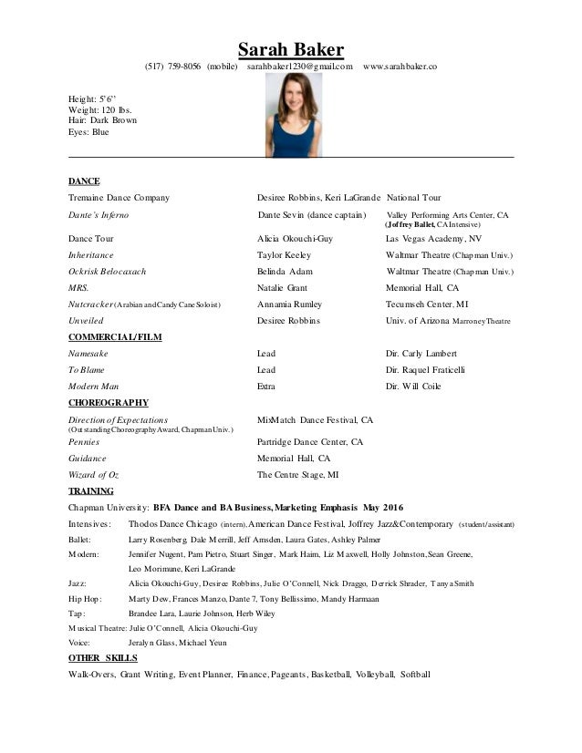 Sarah Baker Commercial Dance Resume