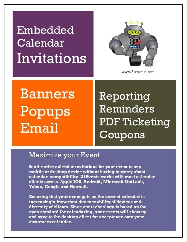 31events Native Calendar Invitations - Calendar API/Widgets