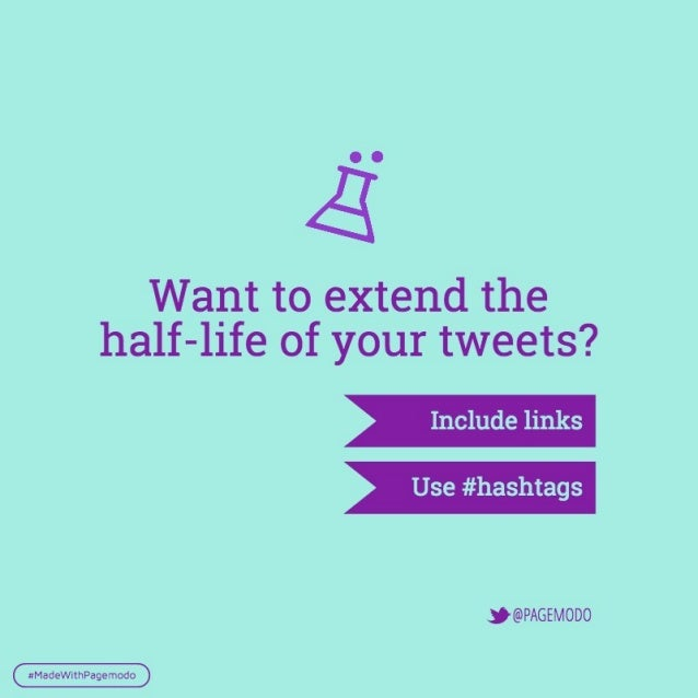 Want to extend the half—life of your tweets?   Include links  Use #hashtags     . '@PAGEMOD0     xMadeWithPagemodo