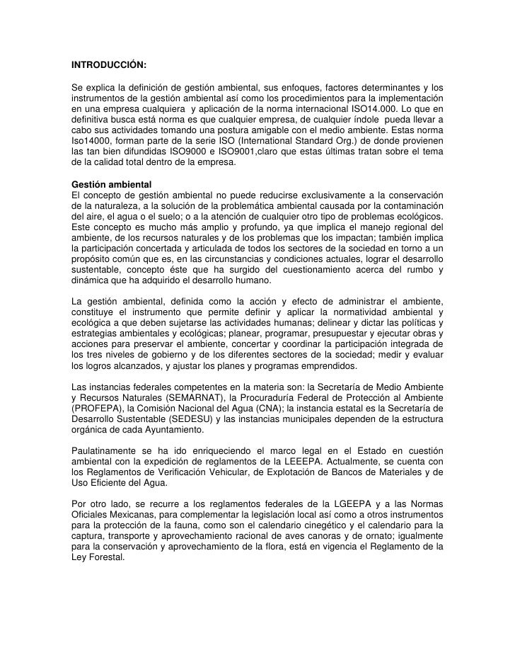 INTRODUCCIÓN:Se explica la definición de gestión ambiental, sus enfoques, factores determinantes y losinstrumentos de la g...