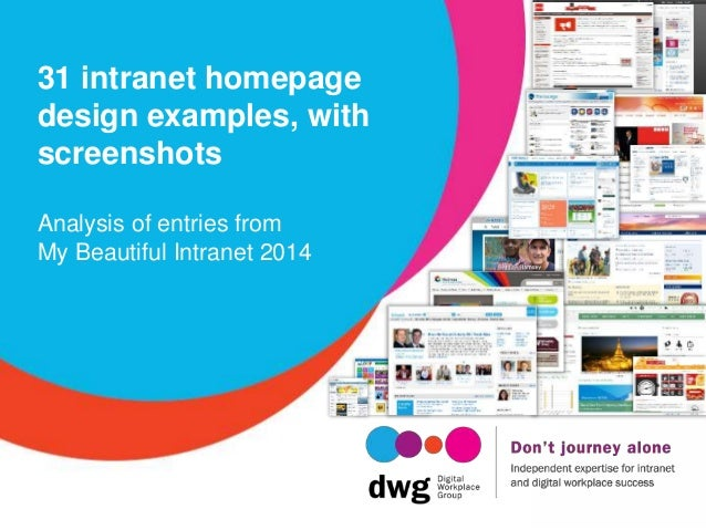 31 intranet homepage design examples, with screenshots Analysis of entries from My Beautiful Intranet 2014