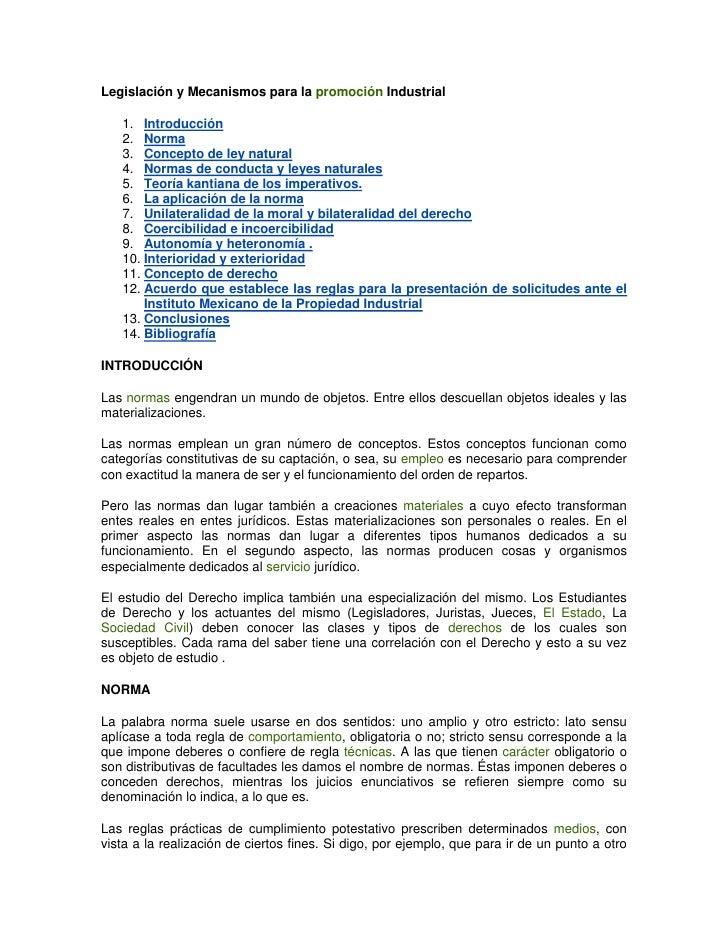 Legislación y Mecanismos para la promoción Industrial   1. Introducción   2. Norma   3. Concepto de ley natural   4. Norma...