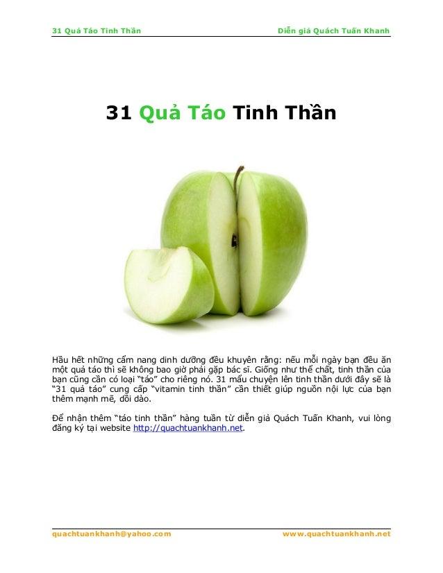 31 Qu Táo Tinh Th n Di n gi Quách Tu n Khanhquachtuankhanh@yahoo.com www.quachtuankhanh.net31 Qu Táo Tinh Th nH u h t nh n...