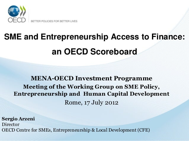 SME and Entrepreneurship Access to Finance:  an OECD Scoreboard MENA-OECD Investment Programme Meeting of the Working Grou...