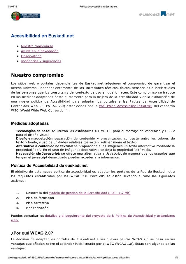 Política de accesibilidad Euskadi.net