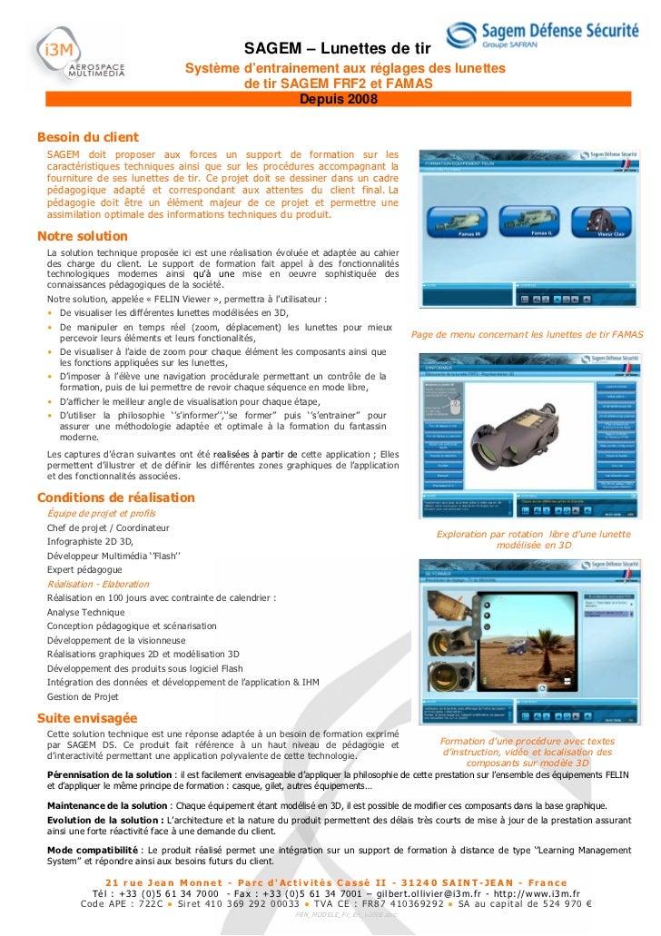 SAGEM – Lunettes de tir                                    Système d'entrainement aux réglages des lunettes               ...