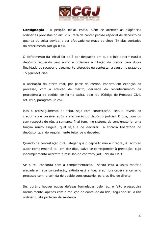 31 11 - CONSIGNAÇÃO (art.895 e 898) 15 dias Juiz decide de plano Petição inicial com o depósito – art. 895 do CPC Não comp...