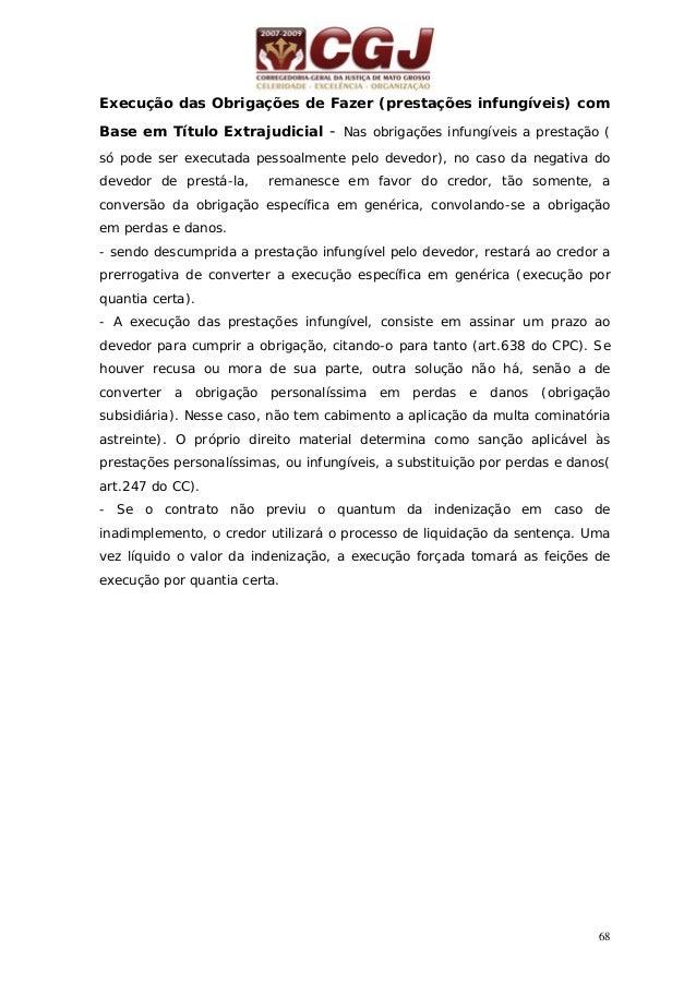 69 24 - EXECUÇÃO DAS OBRIGAÇÕES DE NÃO FAZER COM BASE EM TÍTULO EXTRAJUDICIAL (arts. 642 e 643 do CPC) Pedido do credor Ci...
