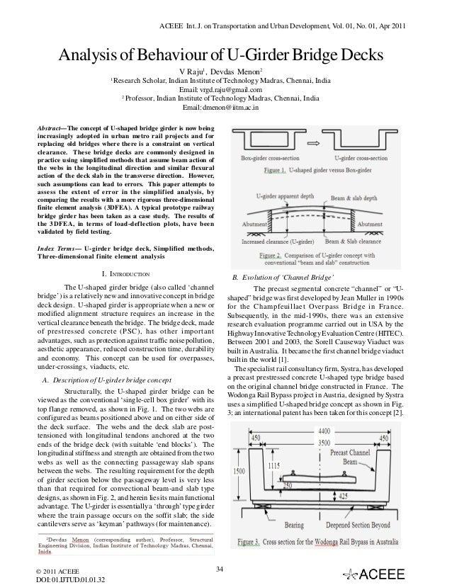 ACEEE Int. J. on Transportation and Urban Development, Vol. 01, No. 01, Apr 2011  Analysis of Behaviour of U-Girder Bridge...
