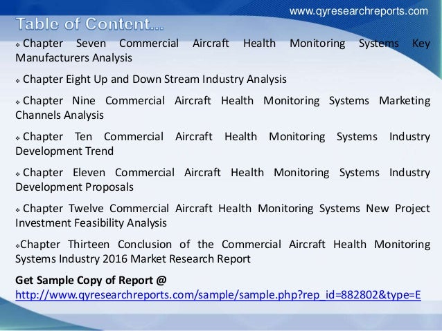  Chapter Seven Commercial Aircraft Health Monitoring Systems Key Manufacturers Analysis  Chapter Eight Up and Down Strea...