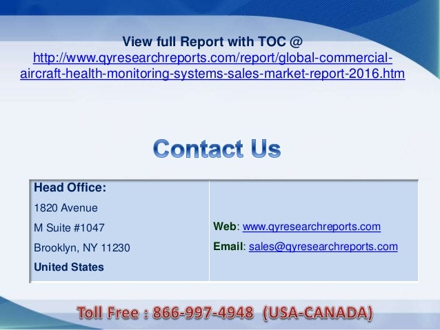 Head Office: 1820 Avenue M Suite #1047 Brooklyn, NY 11230 United States Web: www.qyresearchreports.com Email: sales@qyrese...