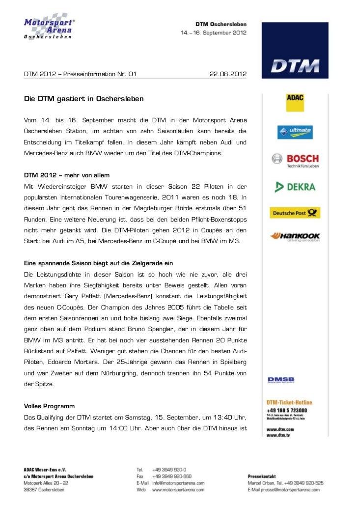 DTM 2012 – Presseinformation Nr. 01                          22.08.2012Die DTM gastiert in OscherslebenVom 14. bis 16. Sep...