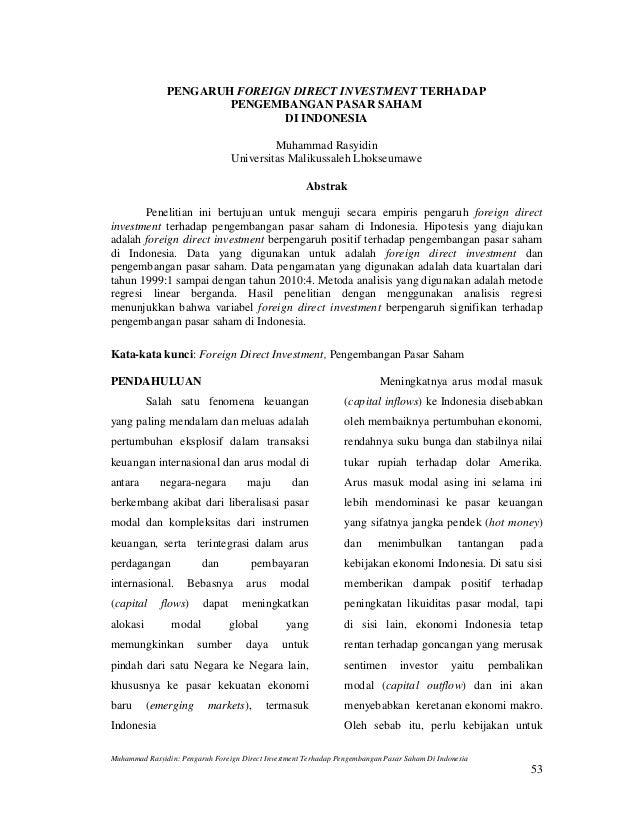 PENGARUH FOREIGN DIRECT INVESTMENT TERHADAP                       PENGEMBANGAN PASAR SAHAM                              DI...