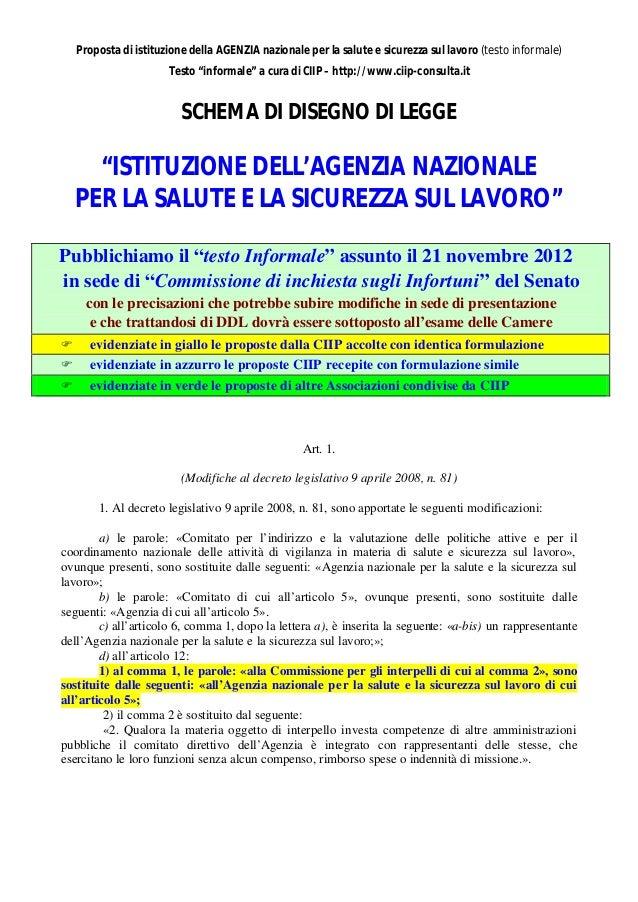 Proposta di istituzione della AGENZIA nazionale per la salute e sicurezza sul lavoro (testo informale)                    ...
