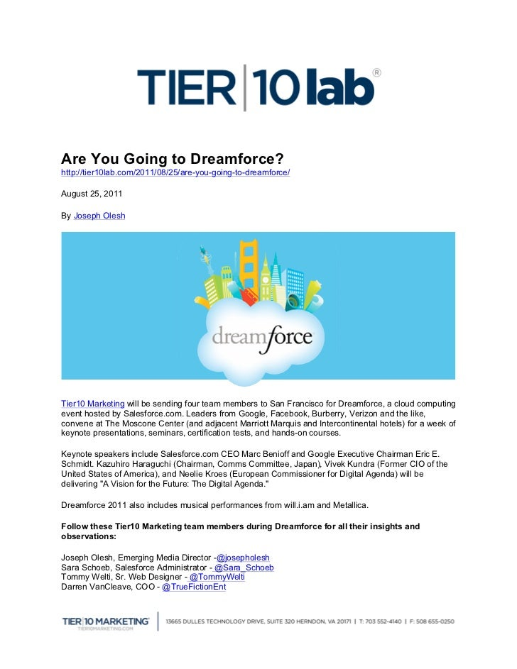 Are You Going to Dreamforce?http://tier10lab.com/2011/08/25/are-you...