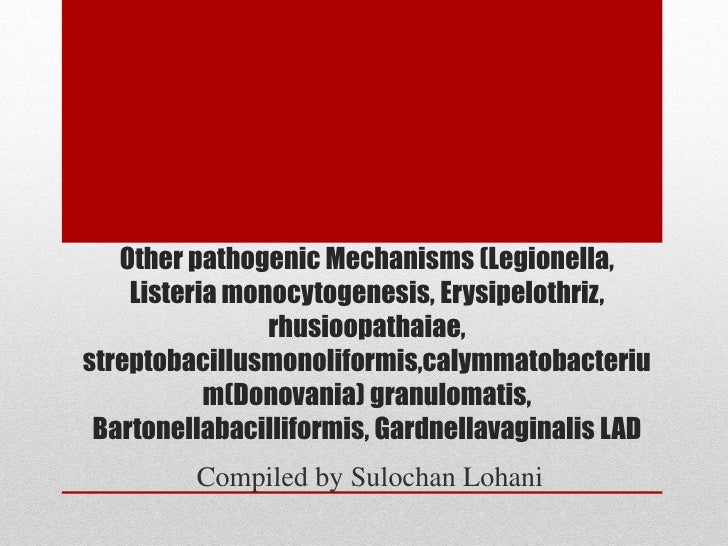 Other pathogenic Mechanisms (Legionella,    Listeria monocytogenesis, Erysipelothriz,                rhusioopathaiae,strep...
