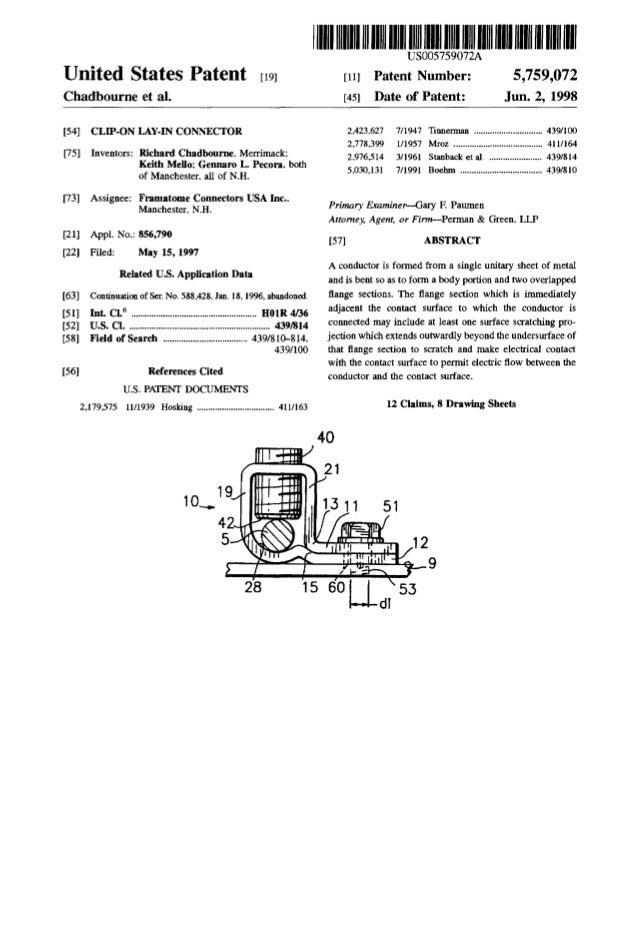 United States Patent [19] Chadbourne et al. [54] CLIP-ON LAY-IN CONNECTOR [75] Inventors: Richard Chadbourne. Merrimack; K...