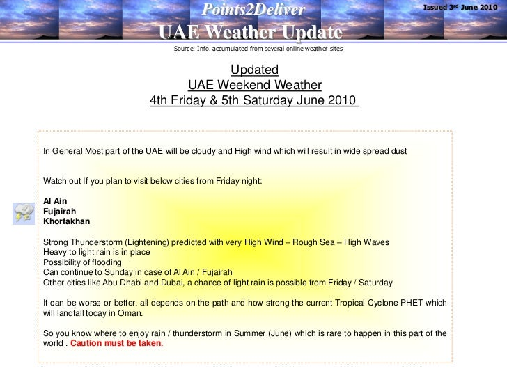 Issued 3rd June 2010                                              Points2Deliver                                UAE Weathe...