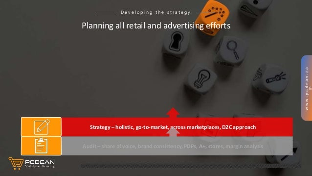 www.podean.co m Strategy – holistic, go-to-market, across marketplaces, D2C approach Planning all retail and advertising e...