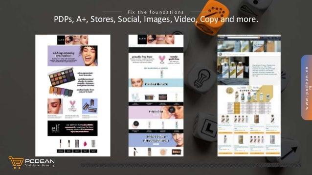 www.podean.co m PDPs, A+, Stores, Social, Images, Video, Copy and more. F i x t h e f o u n d a t i o n s