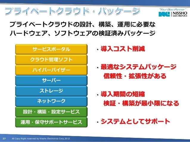 •    ハイパーバイザー:VMwareベースのパッケージが多い     •    クラウド管理ソフトウェア:自社製品が多い     •    サーバー、ストレージ:自社製品が多い                                ...