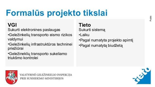 © Tieto Corporation Public Formalūs projekto tikslai VGI Sukurti elektronines paslaugas •Geležinkelių transporto eismo riz...
