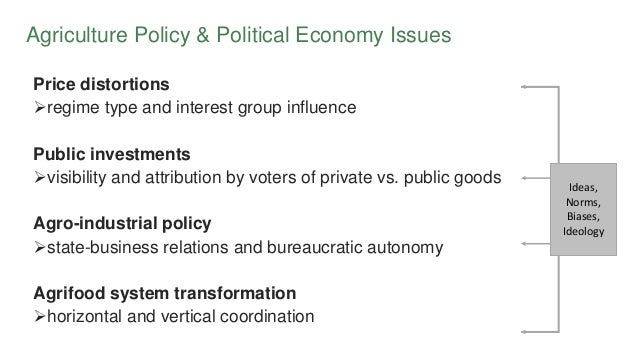 Agriculture Policy & Political Economy Issues Price distortions regime type and interest group influence Public investmen...