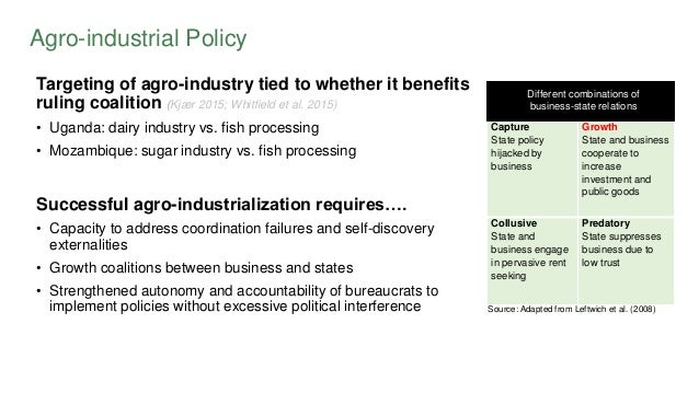 Agro-industrial Policy Targeting of agro-industry tied to whether it benefits ruling coalition (Kjær 2015; Whitfield et al...