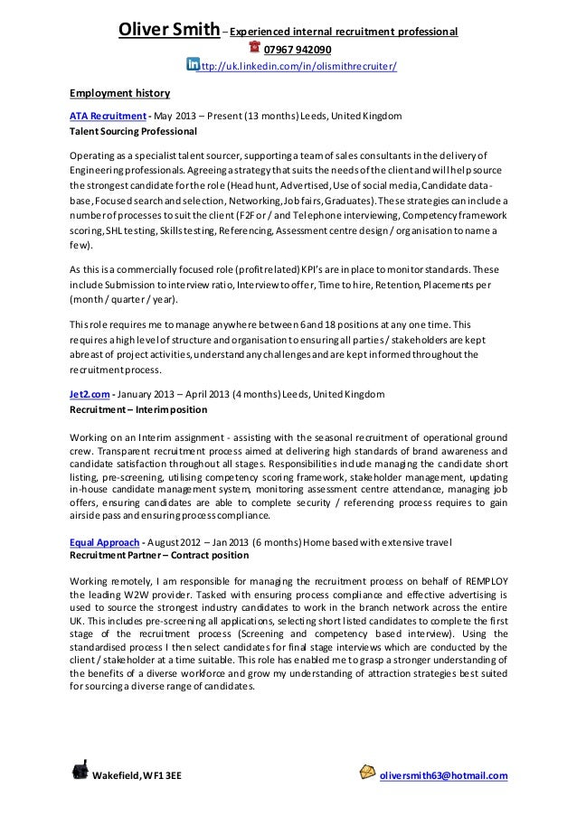Oli Smith 2014 CV Recruitment Expert