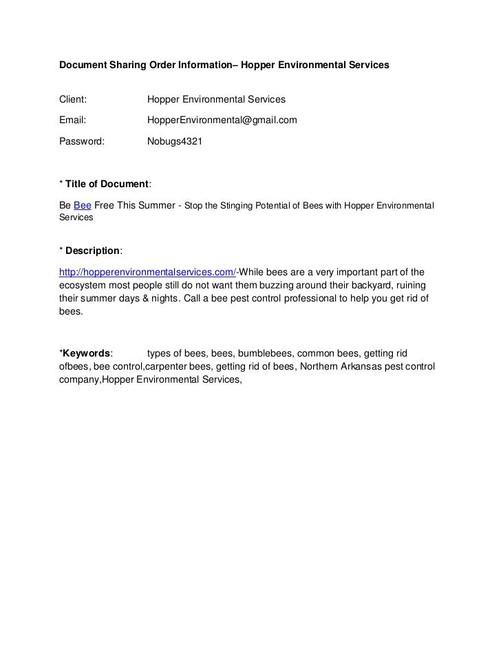 Document Sharing Order Information– Hopper Environmental ServicesClient:             Hopper Environmental ServicesEmail:  ...