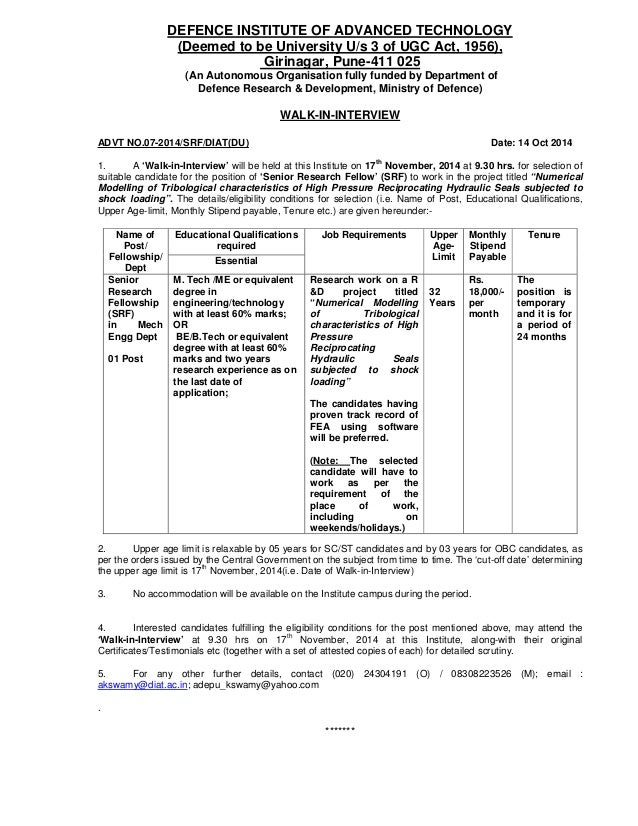 bdfc1dea7 Detail advt - web - SRF and Application Form