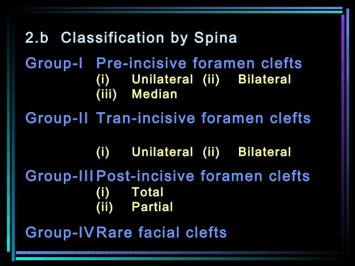 2.b Classification by Spina Group-I Pre-incisive foramen clefts  (i) Unilateral (ii)  Bilateral  (iii) Median  Group-II Tr...