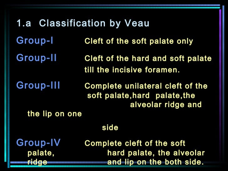 1.a Classification by Veau  Group-I   Cleft of the soft palate only   Group-II Cleft of the hard and soft palate  till the...