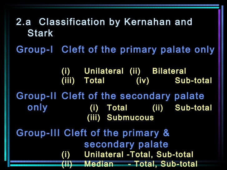 2.a Classification by Kernahan and Stark  Group-I Cleft of the primary palate only   (i) Unilateral (ii)  Bilateral    (ii...
