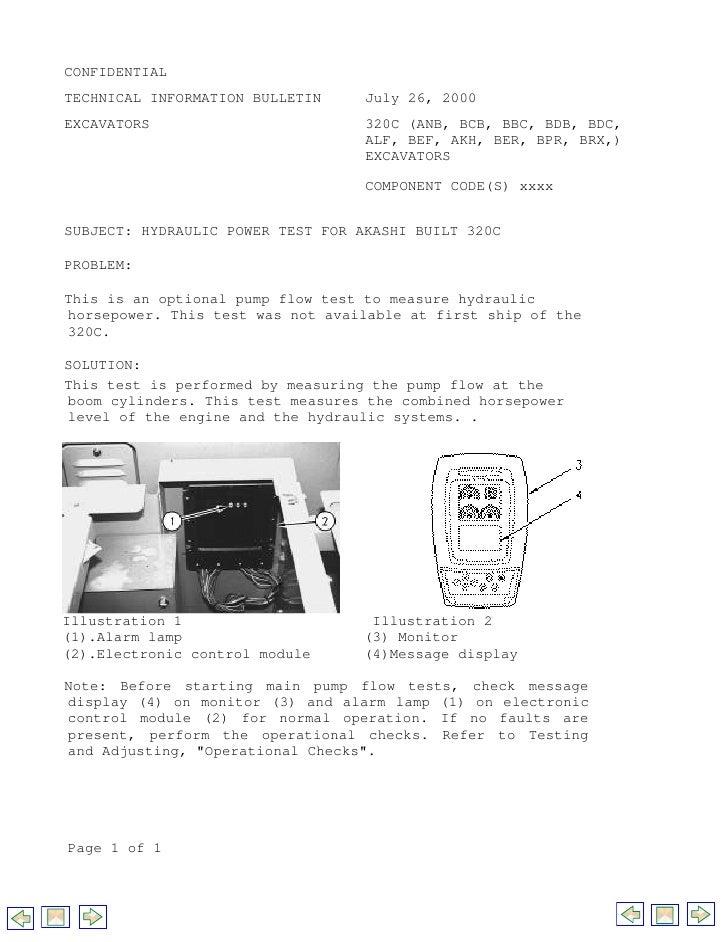 CONFIDENTIALTECHNICAL INFORMATION BULLETIN     July 26, 2000EXCAVATORS                         320C (ANB, BCB, BBC, BDB, B...