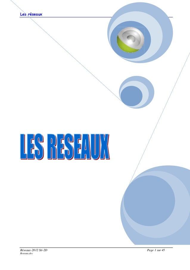 Les réseaux Réseaux-2012 Sti-2D Page 1 sur 45 Reseaux.doc